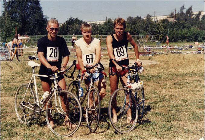DDR-Meisterschaft Junioren 1990, v.l.: F.Krönert, U.Konschak, B.Stiller - Foto: privat