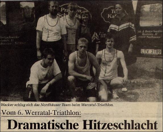 Werratal-Triathlon 1991 in Immelborn, Qualifikation für die deutschen Meisterschaften der Junioren; stehend v.l. B.Brettschneider, U.Konschak, S.Limmer, C.Limmer, sitzend v.l. B.Stiller, F.Krönert, S.Kopf - Foto: privat